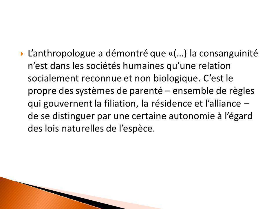  L'anthropologue a démontré que «(…) la consanguinité n'est dans les sociétés humaines qu'une relation socialement reconnue et non biologique. C'est