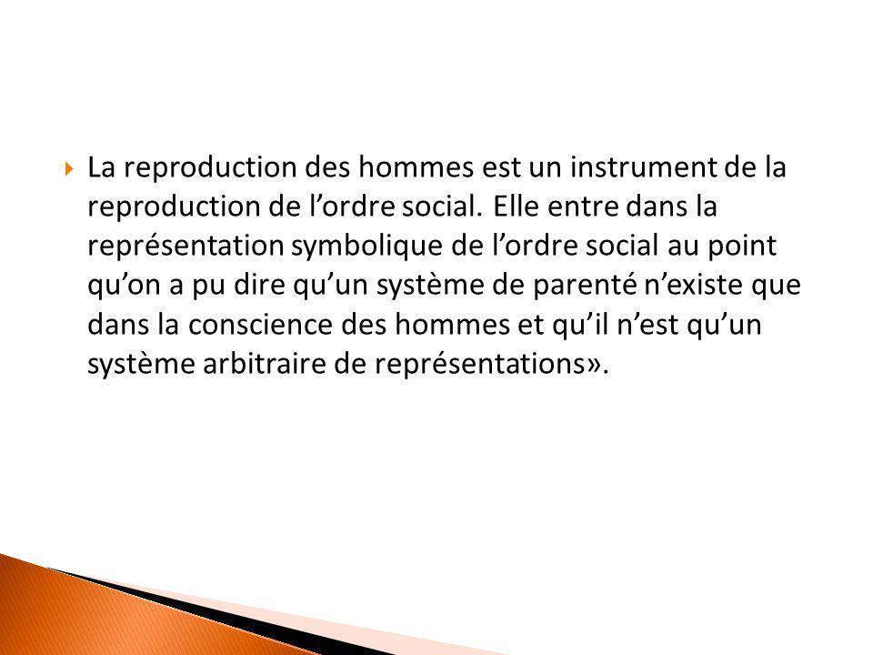  La reproduction des hommes est un instrument de la reproduction de l'ordre social. Elle entre dans la représentation symbolique de l'ordre social au