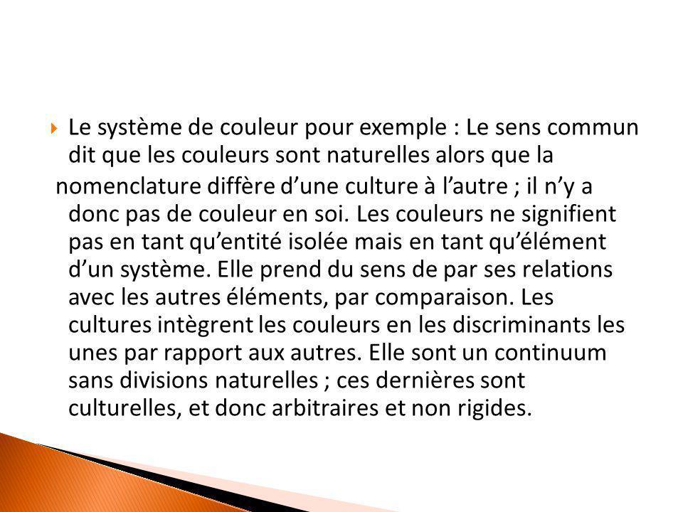  Le système de couleur pour exemple : Le sens commun dit que les couleurs sont naturelles alors que la nomenclature diffère d'une culture à l'autre ;