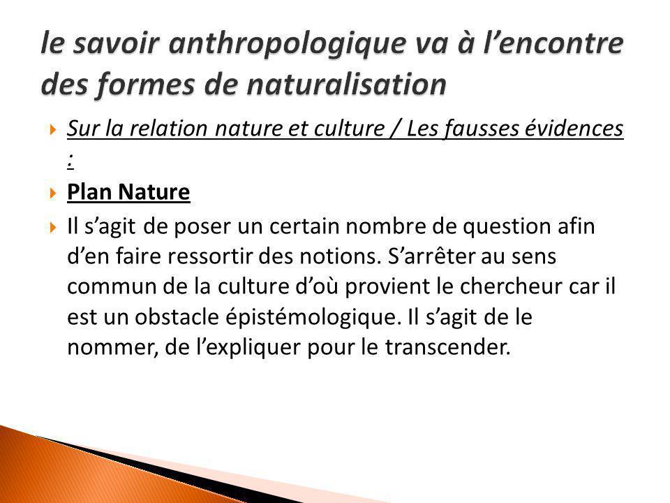  Sur la relation nature et culture / Les fausses évidences :  Plan Nature  Il s'agit de poser un certain nombre de question afin d'en faire ressort