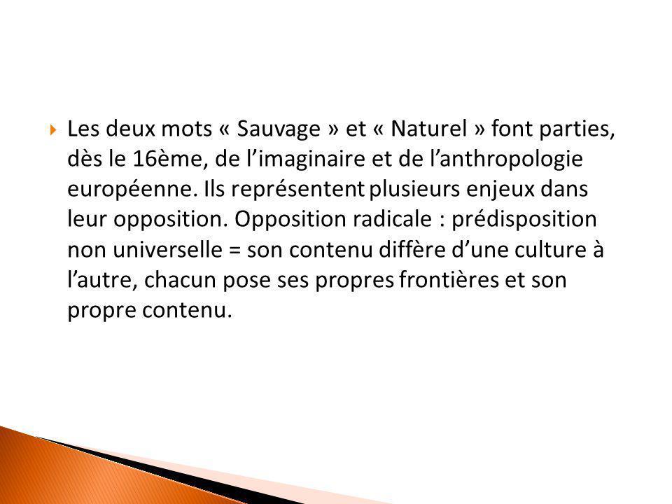  Les deux mots « Sauvage » et « Naturel » font parties, dès le 16ème, de l'imaginaire et de l'anthropologie européenne. Ils représentent plusieurs en