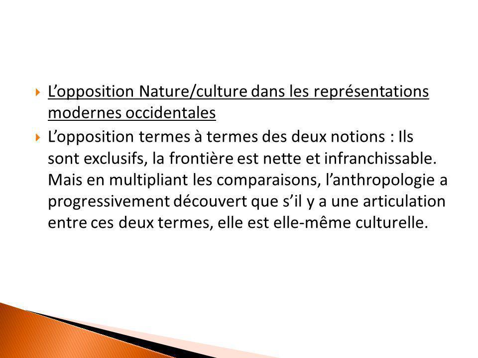 L'opposition Nature/culture dans les représentations modernes occidentales  L'opposition termes à termes des deux notions : Ils sont exclusifs, la