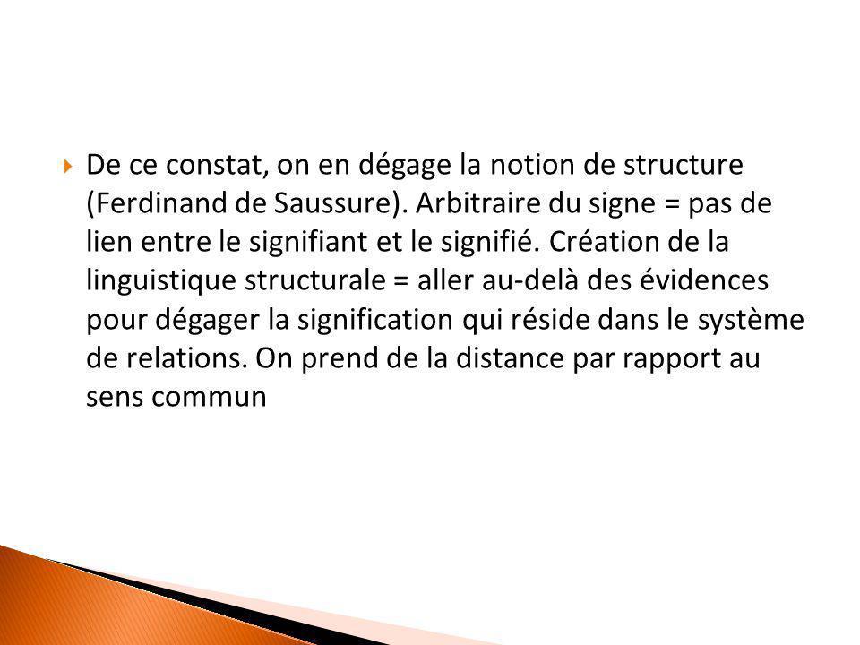  De ce constat, on en dégage la notion de structure (Ferdinand de Saussure). Arbitraire du signe = pas de lien entre le signifiant et le signifié. Cr