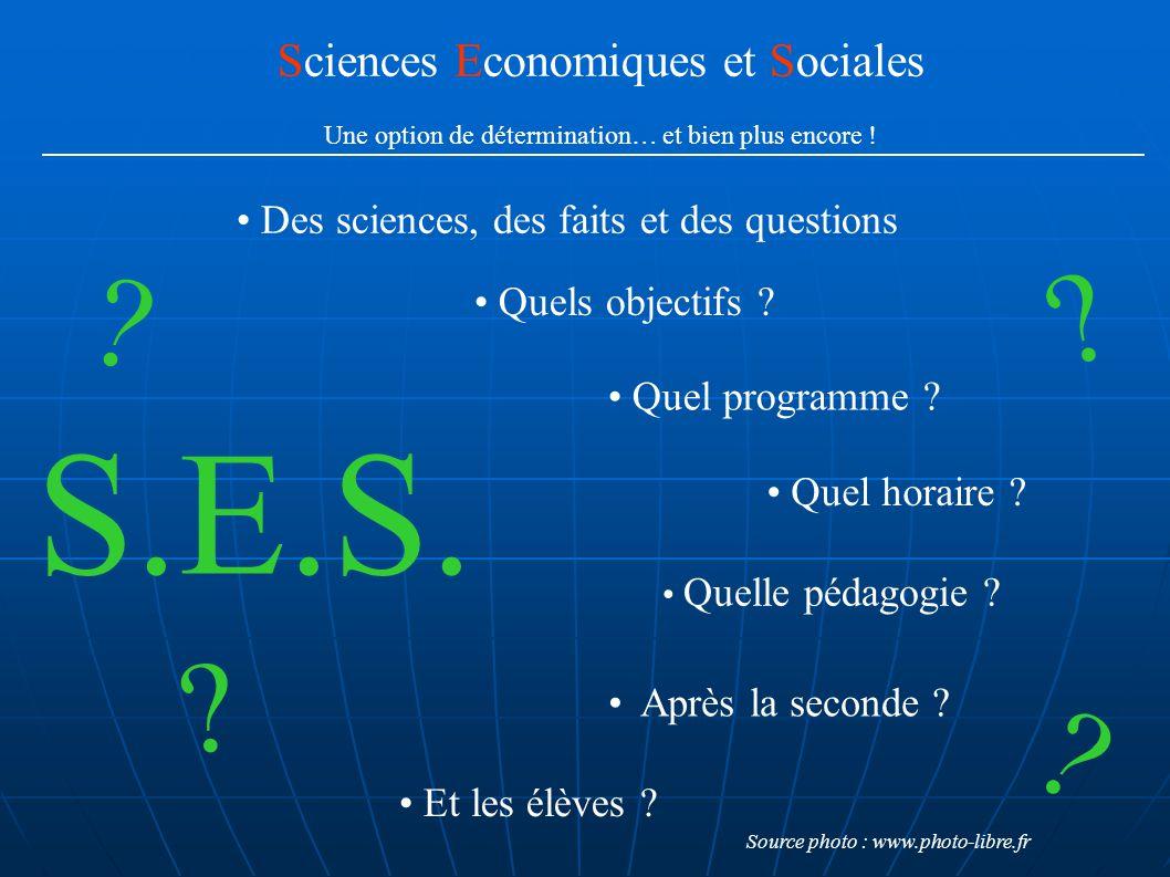 Sciences Economiques et Sociales Une option de détermination… et bien plus encore ! Quels objectifs ? Quel programme ? Quel horaire ? Quelle pédagogie