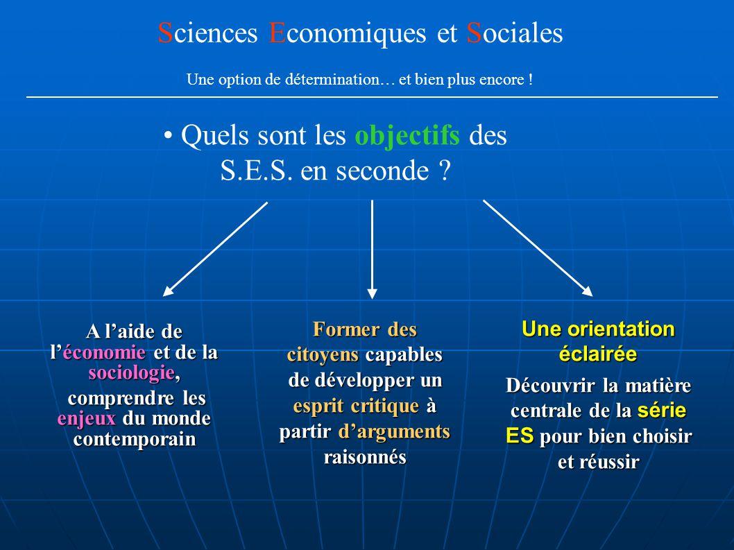 Quels sont les objectifs des S.E.S. en seconde ? Sciences Economiques et Sociales Une option de détermination… et bien plus encore ! A l'aide de l'éco