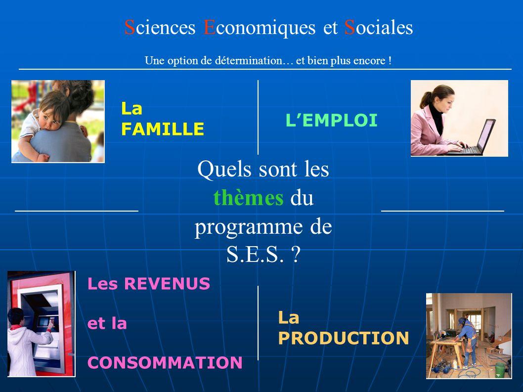 Quels sont les thèmes du programme de S.E.S. ? Sciences Economiques et Sociales Une option de détermination… et bien plus encore ! L'EMPLOI La FAMILLE