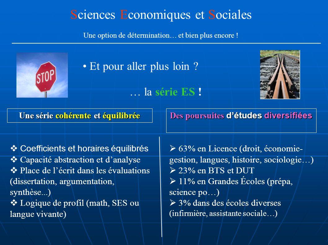 Et les élèves .Sciences Economiques et Sociales Une option de détermination… et bien plus encore .