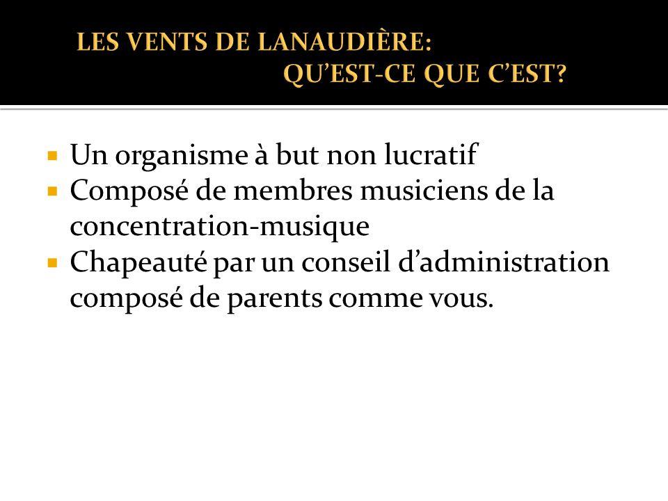  Un organisme à but non lucratif  Composé de membres musiciens de la concentration-musique  Chapeauté par un conseil d'administration composé de parents comme vous.