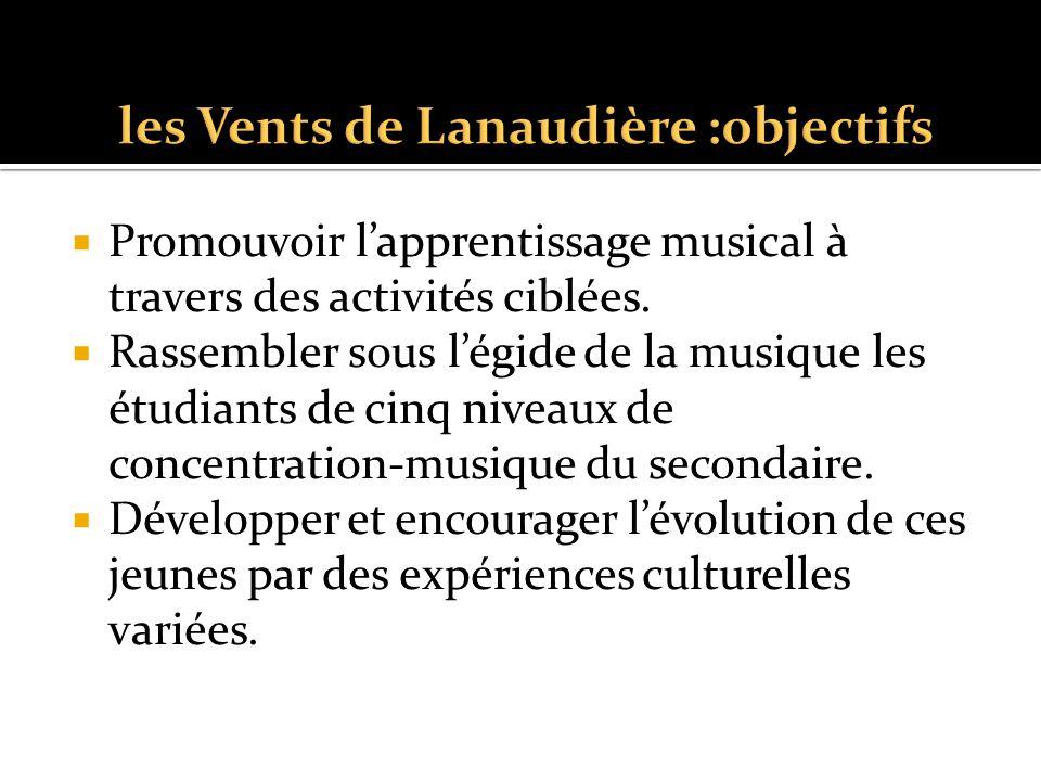  Promouvoir l'apprentissage musical à travers des activités ciblées.