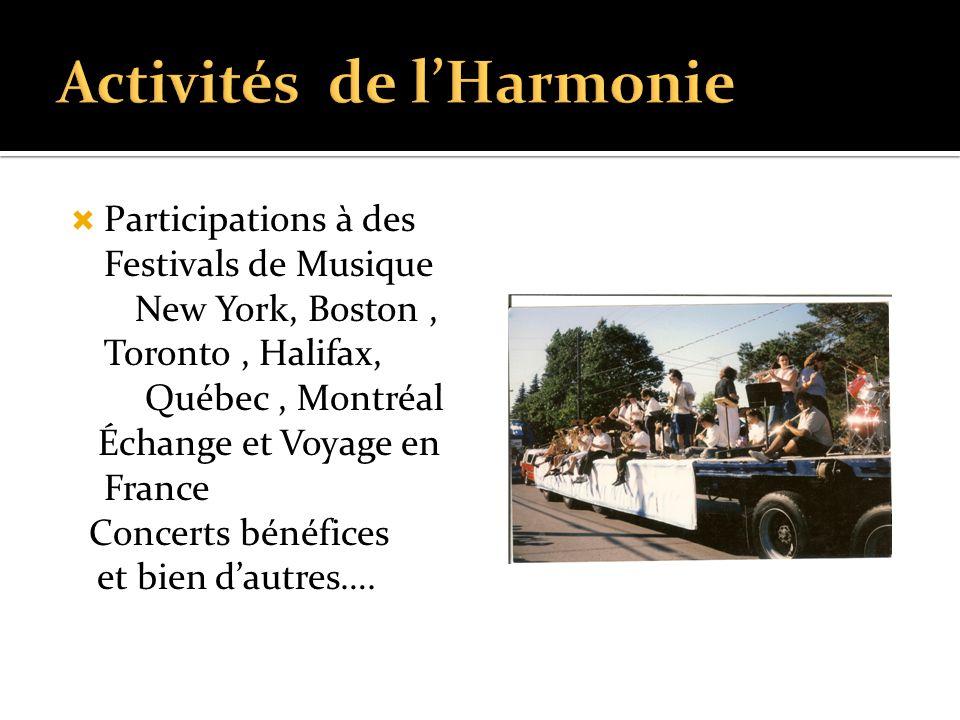  Participations à des Festivals de Musique New York, Boston, Toronto, Halifax, Québec, Montréal Échange et Voyage en France Concerts bénéfices et bien d'autres….