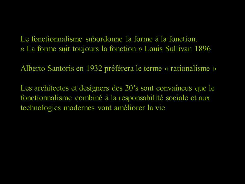 Le fonctionnalisme subordonne la forme à la fonction. « La forme suit toujours la fonction » Louis Sullivan 1896 Alberto Santoris en 1932 préfèrera le