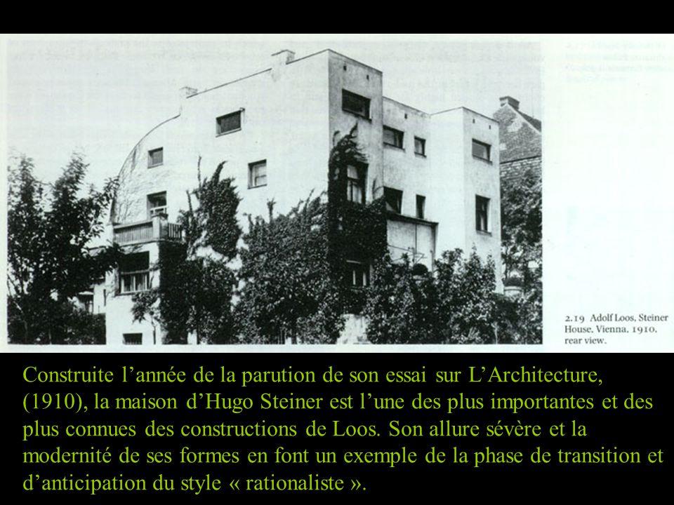Construite l'année de la parution de son essai sur L'Architecture, (1910), la maison d'Hugo Steiner est l'une des plus importantes et des plus connues