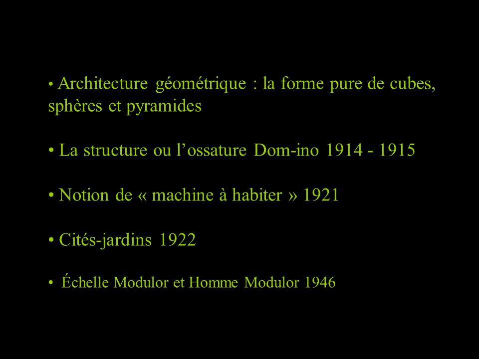 Architecture géométrique : la forme pure de cubes, sphères et pyramides La structure ou l'ossature Dom-ino 1914 - 1915 Notion de « machine à habiter »