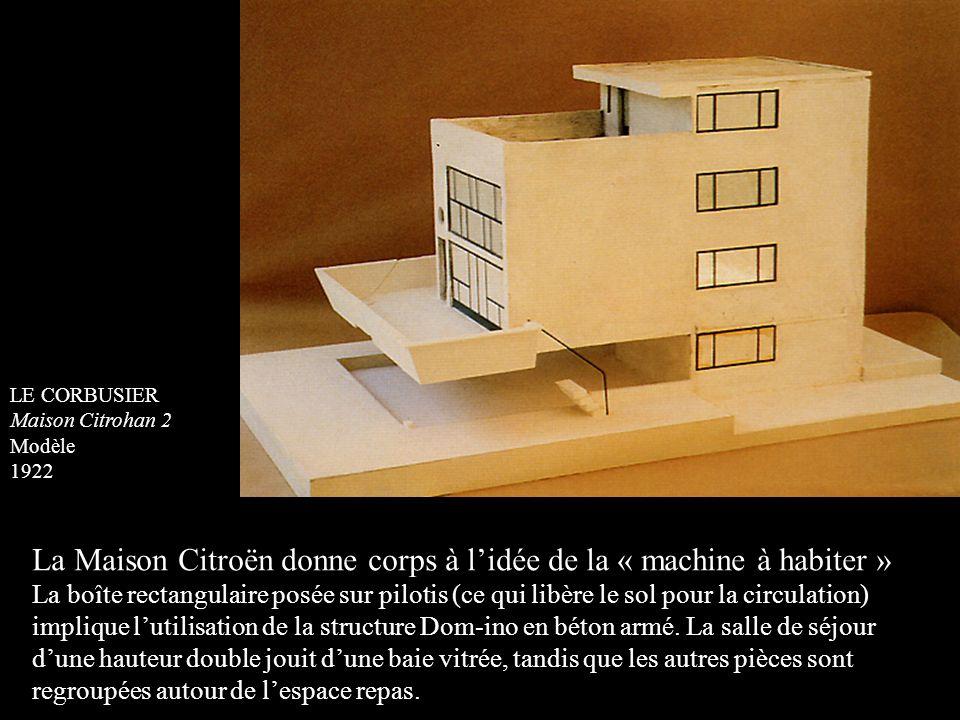 LE CORBUSIER Maison Citrohan 2 Modèle 1922 La Maison Citroën donne corps à l'idée de la « machine à habiter » La boîte rectangulaire posée sur pilotis
