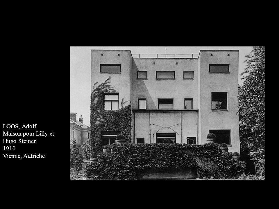 LOOS, Adolf Maison pour Lilly et Hugo Steiner 1910 Vienne, Autriche