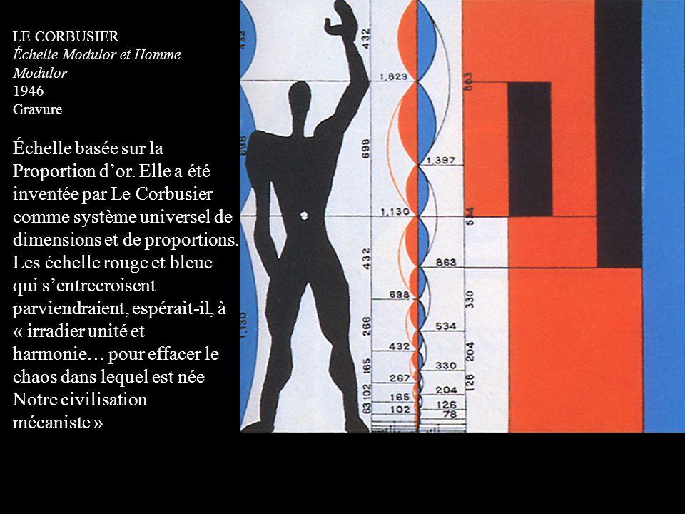 LE CORBUSIER Échelle Modulor et Homme Modulor 1946 Gravure Échelle basée sur la Proportion d'or. Elle a été inventée par Le Corbusier comme système un