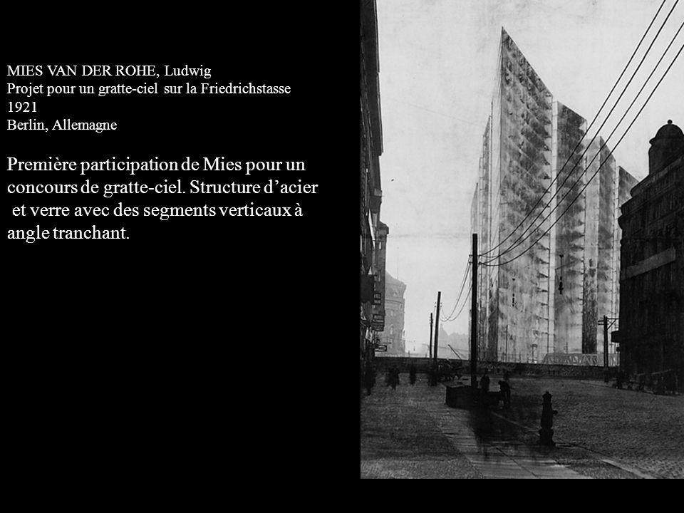 MIES VAN DER ROHE, Ludwig Projet pour un gratte-ciel sur la Friedrichstasse 1921 Berlin, Allemagne Première participation de Mies pour un concours de