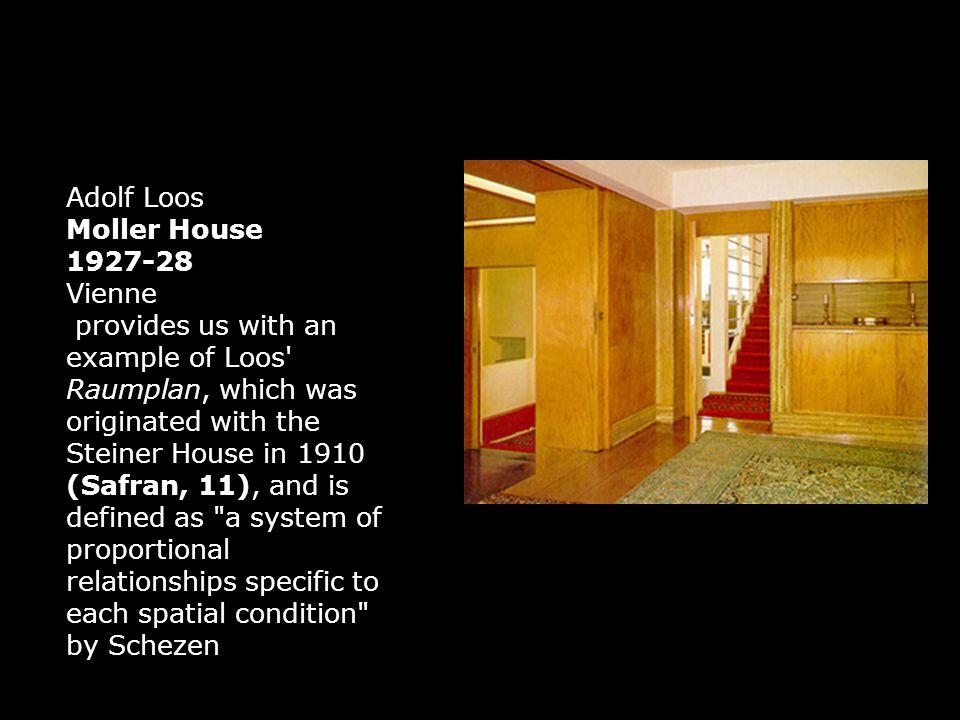 Adolf Loos Scheu 1912 - 1913 Vienne Construction en « raumplan », plan de volumes, qui évoluent graduellement.