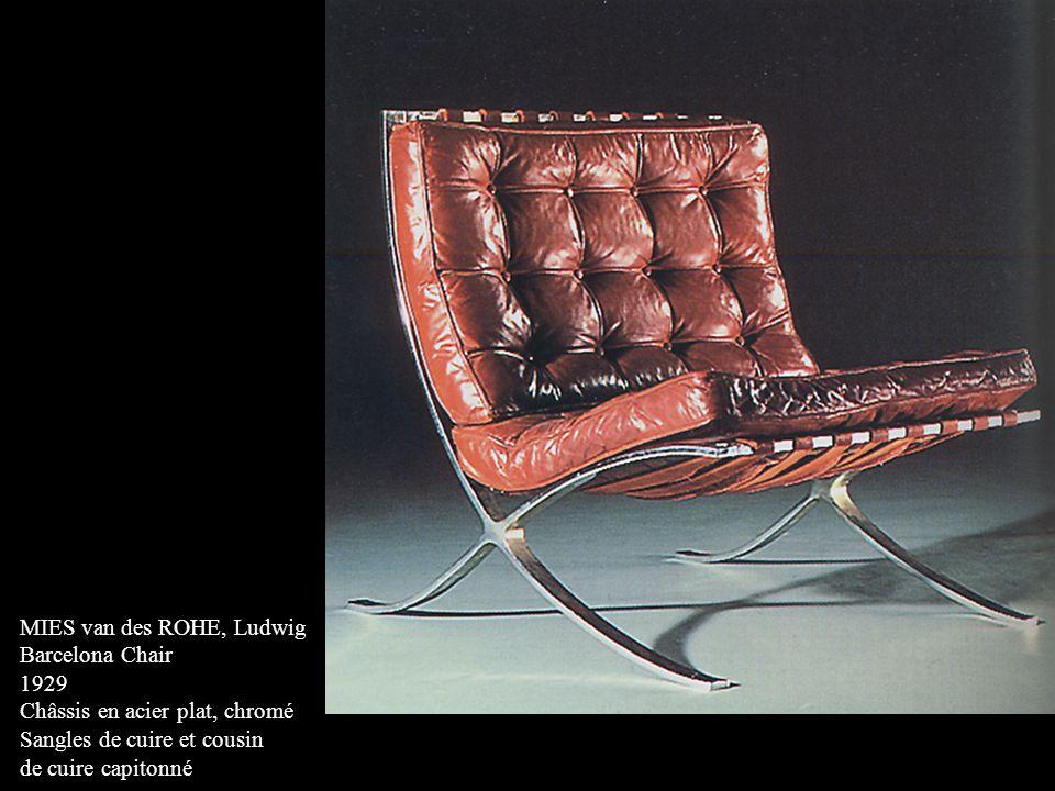 MIES van des ROHE, Ludwig Barcelona Chair 1929 Châssis en acier plat, chromé Sangles de cuire et cousin de cuire capitonné