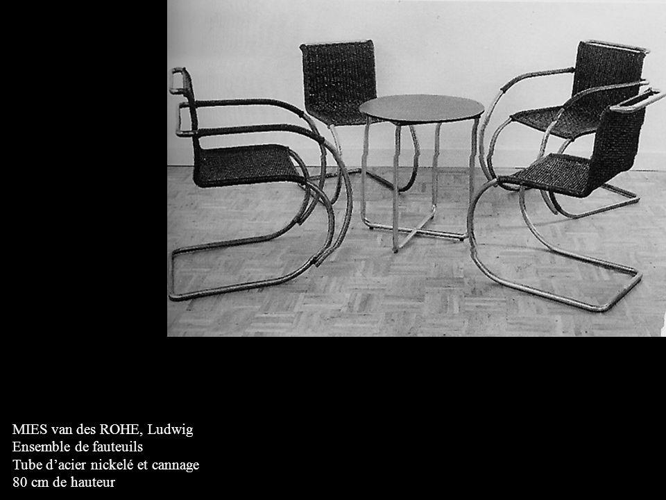 MIES van des ROHE, Ludwig Ensemble de fauteuils Tube d'acier nickelé et cannage 80 cm de hauteur