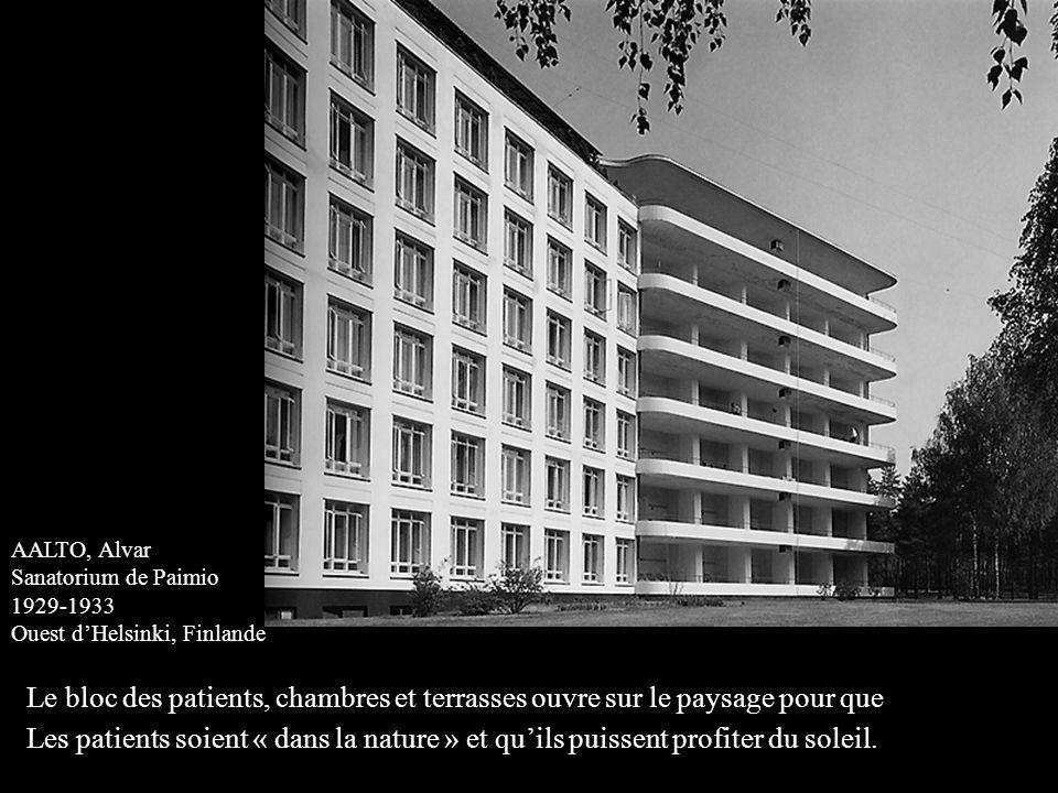 AALTO, Alvar Sanatorium de Paimio 1929-1933 Ouest d'Helsinki, Finlande Le bloc des patients, chambres et terrasses ouvre sur le paysage pour que Les p