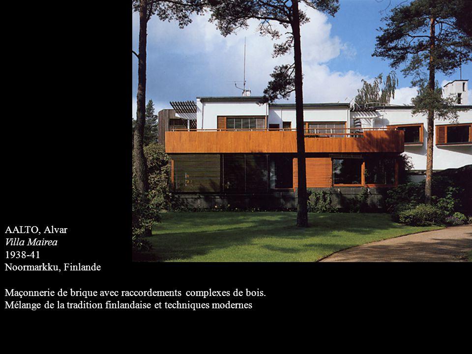 AALTO, Alvar Villa Mairea 1938-41 Noormarkku, Finlande Maçonnerie de brique avec raccordements complexes de bois. Mélange de la tradition finlandaise