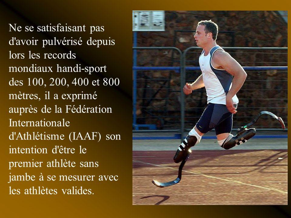 En athlétisme avec une volonté d'acier, un esprit compétitif insatiable et deux prothèse grâce auxquelles il trompe la nature, il a obtenu aux Jeux Pa