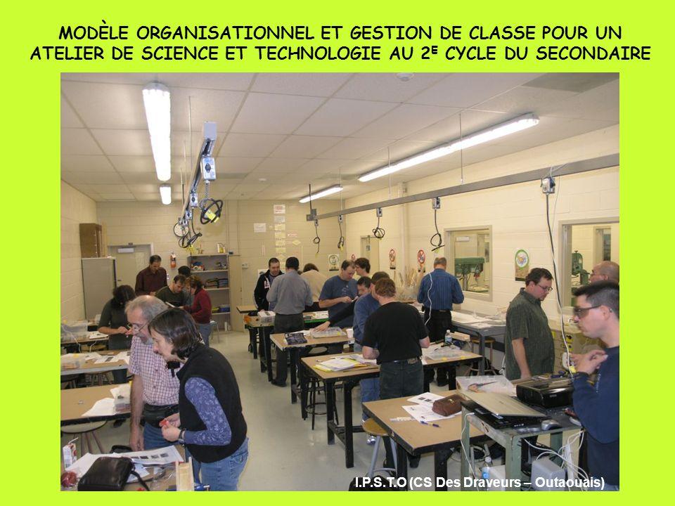 MODÈLE ORGANISATIONNEL ET GESTION DE CLASSE POUR UN ATELIER DE SCIENCE ET TECHNOLOGIE AU 2 E CYCLE DU SECONDAIRE I.P.S.T.O (CS Des Draveurs – Outaouais)
