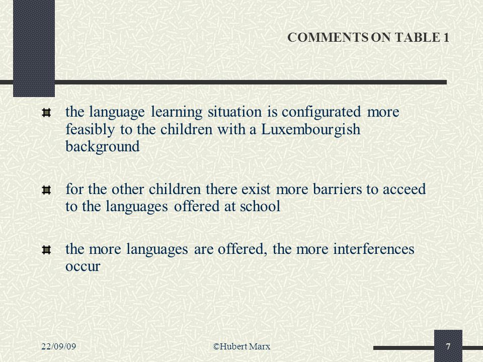 22/09/09©Hubert Marx7 COMMENTS ON TABLE 1 the language learning situation is configurated more feasibly to the children with a Luxembourgish backgroun