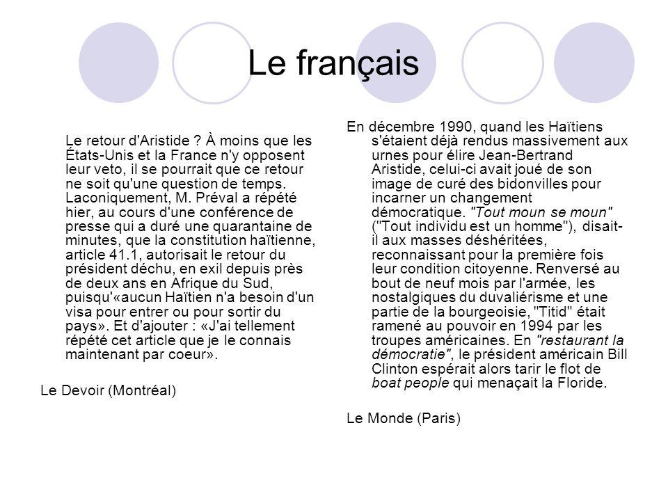 Le français Le retour d'Aristide ? À moins que les États-Unis et la France n'y opposent leur veto, il se pourrait que ce retour ne soit qu'une questio