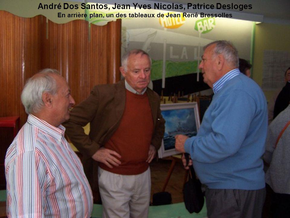 André Dos Santos, Jean Yves Nicolas, Patrice Desloges En arrière plan, un des tableaux de Jean René Bressolles