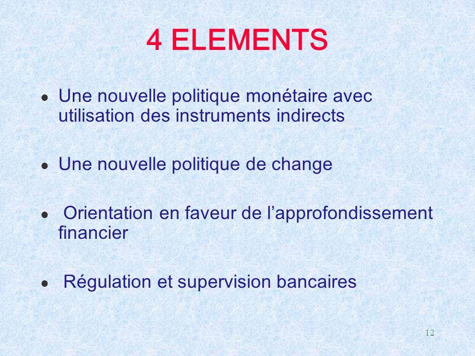 12 4 ELEMENTS l Une nouvelle politique monétaire avec utilisation des instruments indirects l Une nouvelle politique de change l Orientation en faveur