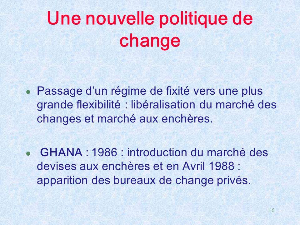 16 Une nouvelle politique de change l Passage d'un régime de fixité vers une plus grande flexibilité : libéralisation du marché des changes et marché