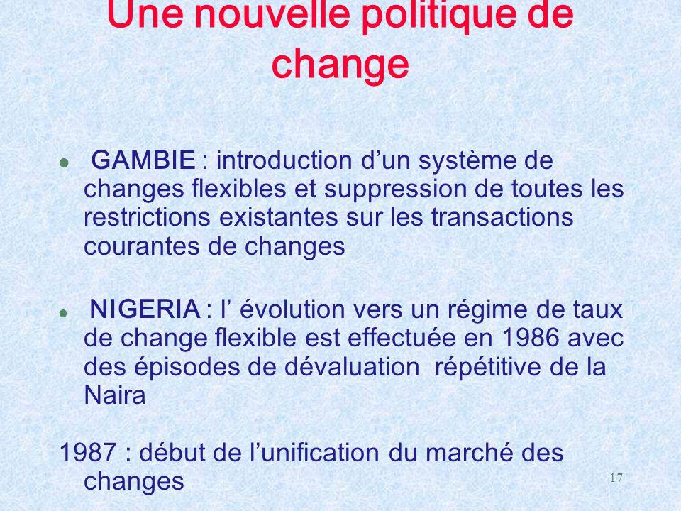 17 Une nouvelle politique de change l GAMBIE : introduction d'un système de changes flexibles et suppression de toutes les restrictions existantes sur