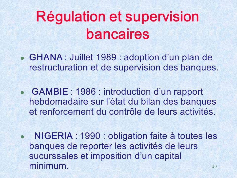20 Régulation et supervision bancaires l GHANA : Juillet 1989 : adoption d'un plan de restructuration et de supervision des banques. l GAMBIE : 1986 :