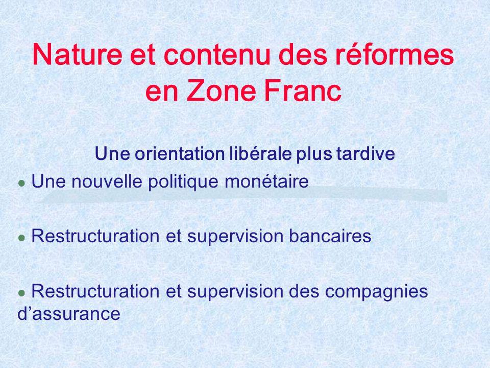 Nature et contenu des réformes en Zone Franc Une orientation libérale plus tardive l Une nouvelle politique monétaire l Restructuration et supervision