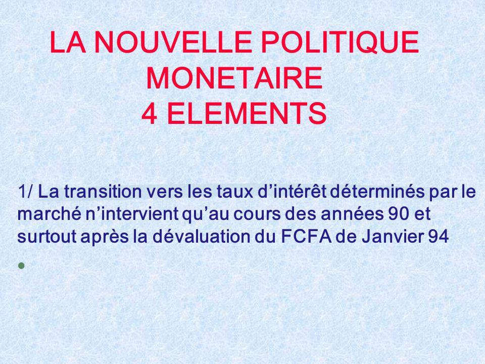 LA NOUVELLE POLITIQUE MONETAIRE 4 ELEMENTS 1/ La transition vers les taux d'intérêt déterminés par le marché n'intervient qu'au cours des années 90 et