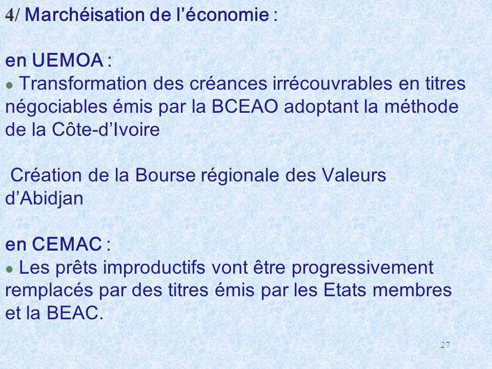 27 4/ Marchéisation de l'économie : en UEMOA : l Transformation des créances irrécouvrables en titres négociables émis par la BCEAO adoptant la méthod