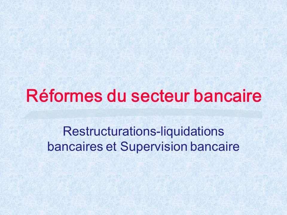 Réformes du secteur bancaire Restructurations-liquidations bancaires et Supervision bancaire