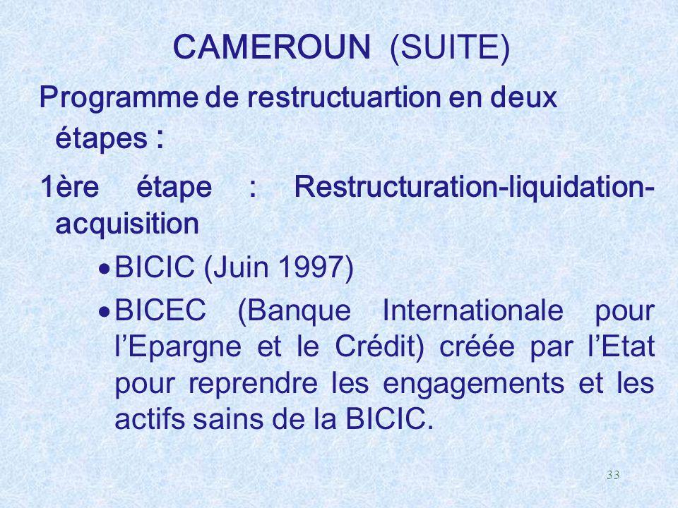 33 CAMEROUN (SUITE) Programme de restructuartion en deux étapes : 1ère étape : Restructuration-liquidation- acquisition  BICIC (Juin 1997)  BICEC (B