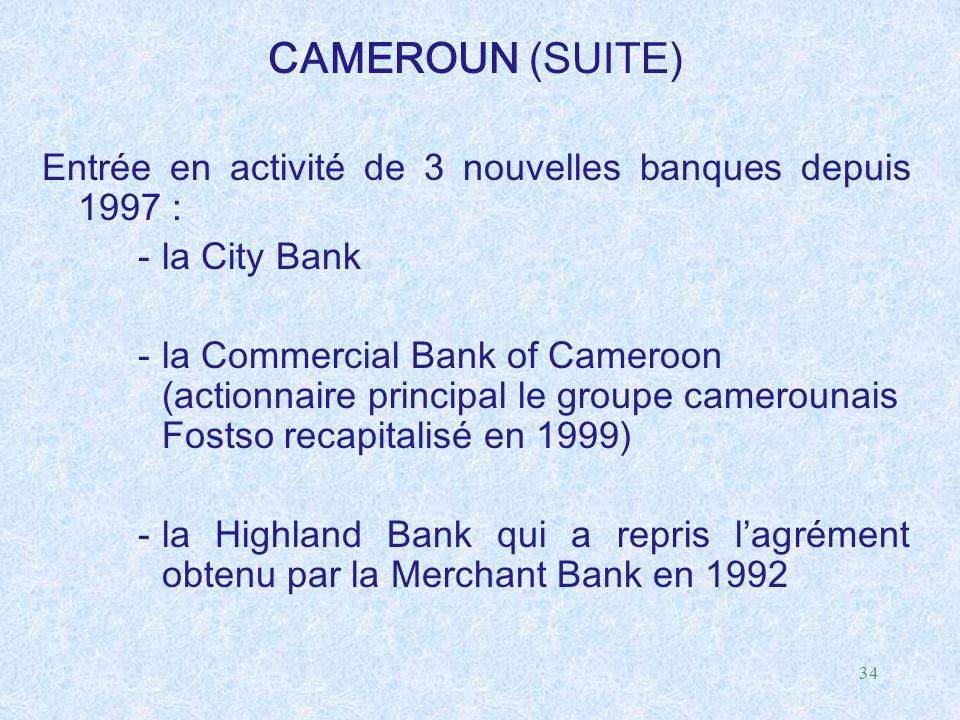 34 CAMEROUN (SUITE) Entrée en activité de 3 nouvelles banques depuis 1997 : -la City Bank -la Commercial Bank of Cameroon (actionnaire principal le gr