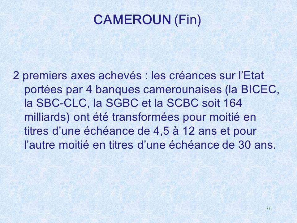 36 CAMEROUN (Fin) 2 premiers axes achevés : les créances sur l'Etat portées par 4 banques camerounaises (la BICEC, la SBC-CLC, la SGBC et la SCBC soit