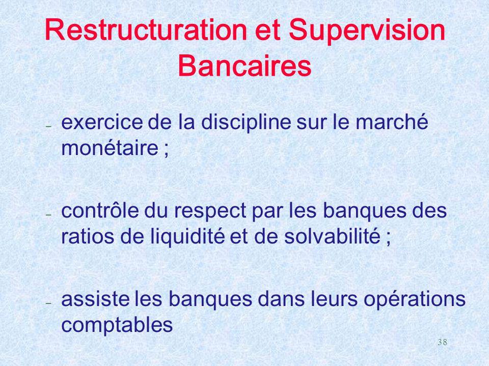 38 Restructuration et Supervision Bancaires – exercice de la discipline sur le marché monétaire ; – contrôle du respect par les banques des ratios de