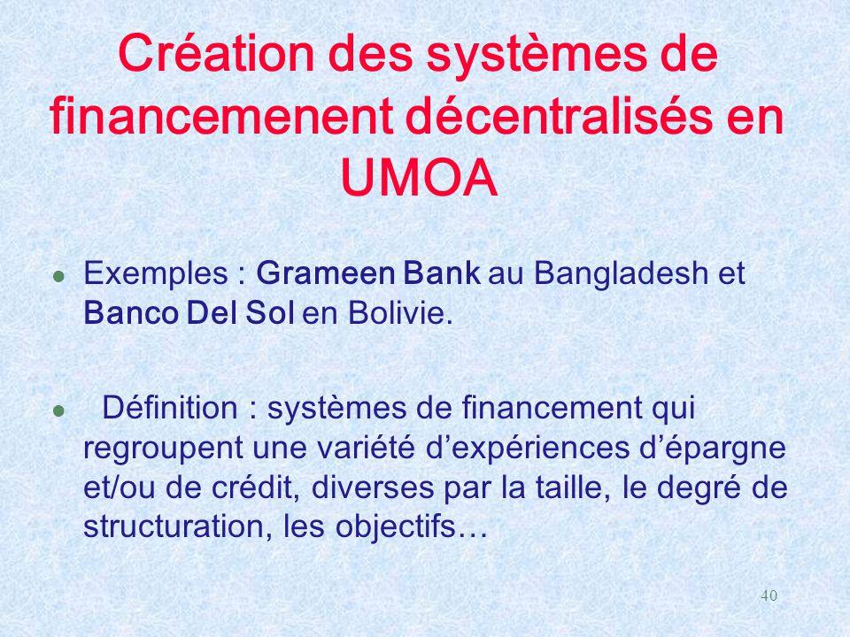 40 Création des systèmes de financemenent décentralisés en UMOA l Exemples : Grameen Bank au Bangladesh et Banco Del Sol en Bolivie. l Définition : sy