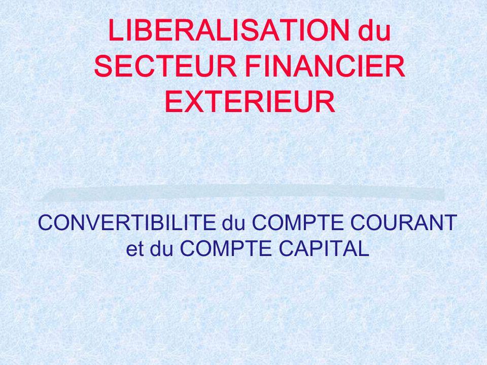 LIBERALISATION du SECTEUR FINANCIER EXTERIEUR CONVERTIBILITE du COMPTE COURANT et du COMPTE CAPITAL