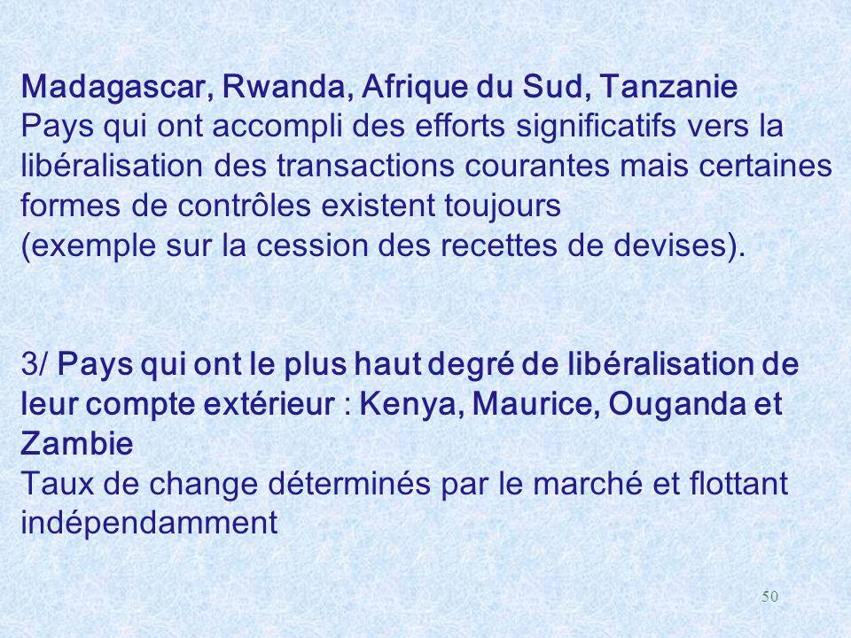 50 Madagascar, Rwanda, Afrique du Sud, Tanzanie Pays qui ont accompli des efforts significatifs vers la libéralisation des transactions courantes mais