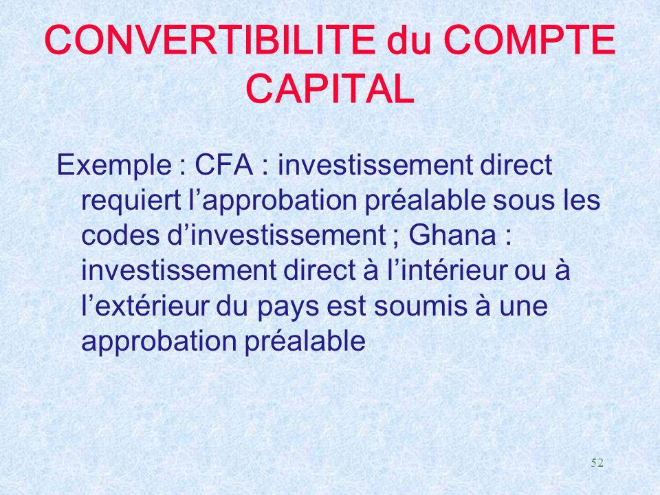 52 CONVERTIBILITE du COMPTE CAPITAL Exemple : CFA : investissement direct requiert l'approbation préalable sous les codes d'investissement ; Ghana : i