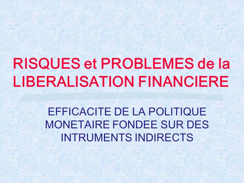 RISQUES et PROBLEMES de la LIBERALISATION FINANCIERE EFFICACITE DE LA POLITIQUE MONETAIRE FONDEE SUR DES INTRUMENTS INDIRECTS