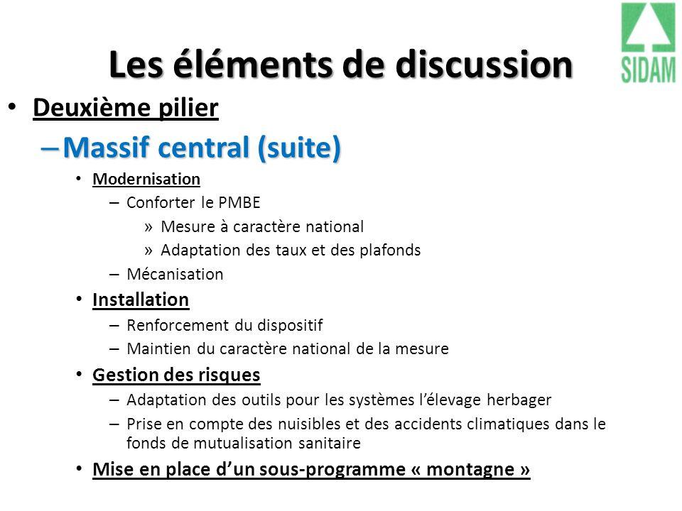 Les éléments de discussion Deuxième pilier – Massif central (suite) Modernisation – Conforter le PMBE » Mesure à caractère national » Adaptation des t