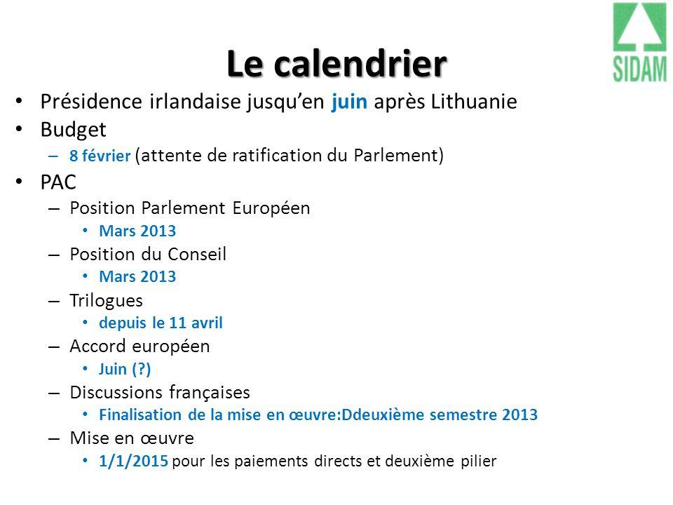 Le calendrier Présidence irlandaise jusqu'en juin après Lithuanie Budget – 8 février (attente de ratification du Parlement) PAC – Position Parlement E